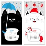 Calendario 2017 del gatto Serie di caratteri divertente sveglia del fumetto Periodo invernale di autunno novembre di dicembre Fotografie Stock Libere da Diritti