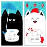 Calendario 2017 del gatto Serie di caratteri divertente sveglia del fumetto Periodo invernale di autunno novembre di dicembre Cap Fotografia Stock Libera da Diritti