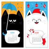 Calendario 2017 del gatto Serie di caratteri divertente sveglia del fumetto Periodo invernale di autunno novembre di dicembre Cap Immagine Stock
