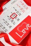 Calendario del giorno del biglietto di S. Valentino Fotografie Stock
