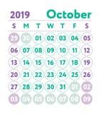 Calendario 2019 Calendario del inglés del vector Mes de octubre Estrella de la semana stock de ilustración