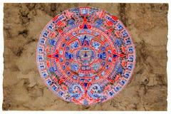Calendario del maya pintado en el papel del amate imagenes de archivo
