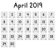 Calendario del mes de abril de 2019 ilustración del vector