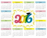 Calendario del mono Calendario para 2016 con un símbolo del horóscopo chino con los plátanos y el mono color Fotos de archivo libres de regalías