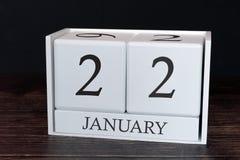 Calendario del negocio para enero, 22do día del mes Fecha del organizador del planificador o concepto del horario de los acontec foto de archivo libre de regalías