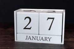 Calendario del negocio para enero, 27mo día del mes Fecha del organizador del planificador o concepto del horario de los acontec foto de archivo