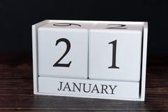 Calendario del negocio para enero, 21ro día del mes Fecha del organizador del planificador o concepto del horario de los acontec fotos de archivo