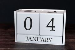 Calendario del negocio para enero, 4to día del mes Fecha del organizador del planificador o concepto del horario de los aconteci ilustración del vector