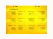 Calendario 2018 del oro Fotos de archivo libres de regalías