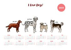 Calendario 2019 del perro Perros de diversos bosquejos de las razas libre illustration