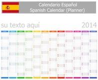 Calendario del planificador de 2014 españoles con meses verticales Imágenes de archivo libres de regalías
