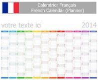 Calendario del planificador de 2014 franceses con meses verticales Fotos de archivo libres de regalías
