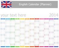 Calendario del planificador de 2014 ingleses con meses verticales Fotos de archivo