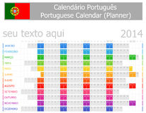 Calendario del planificador de 2014 portugueses con meses horizontales Imagenes de archivo