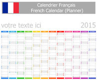 Calendario del planificador de 2015 franceses con meses verticales Imágenes de archivo libres de regalías