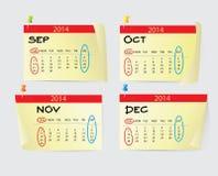 Calendario 2014 del septiembre a diciembre Imagen de archivo