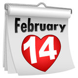 Calendario del tirón del papel del 14 de febrero Imagenes de archivo
