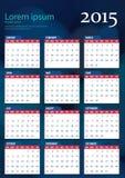 Calendario 2015 del vector imagen de archivo libre de regalías