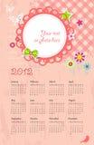 Calendario del vector con el lugar para la foto Fotografía de archivo