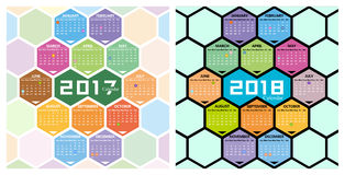Calendario del vector 2017,2018 con forma del panal Fotos de archivo libres de regalías