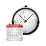 Calendario del vector con un reloj Fotos de archivo libres de regalías