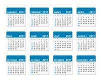 calendario del vector de 2017 años Foto de archivo libre de regalías