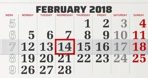 Calendario del vector de febrero de 2018 Imagenes de archivo