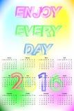 Calendario 2016 del vector La semana comienza domingo Fotografía de archivo libre de regalías