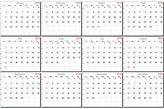 Calendario del vector para 2015 Fotografía de archivo libre de regalías