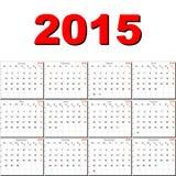 Calendario del vector para 2015 Imagenes de archivo