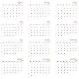 Calendario del vector para 2015 Fotos de archivo libres de regalías