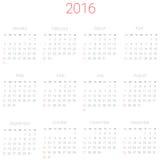 Calendario del vector para 2016 Foto de archivo libre de regalías