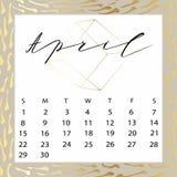 Calendario del vector para abril de 2018 Foto de archivo