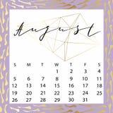 Calendario del vector para agosto de 2018 Fotografía de archivo libre de regalías