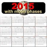 Calendario del vector para 2015 con fases de la luna Imagen de archivo libre de regalías