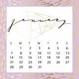 Calendario del vector para enero de 2018 Imágenes de archivo libres de regalías