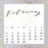 Calendario del vector para febrero de 2018 Fotografía de archivo libre de regalías