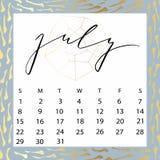 Calendario del vector para julio de 2018 Fotografía de archivo libre de regalías