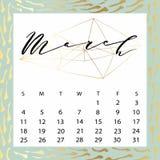 Calendario del vector para marzo de 2018 Fotografía de archivo libre de regalías