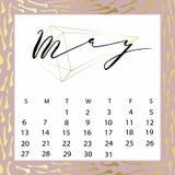 Calendario del vector para mayo de 2018 Foto de archivo libre de regalías