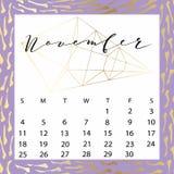 Calendario del vector para noviembre de 2018 Imagen de archivo libre de regalías