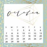 Calendario del vector para octubre de 2018 Fotos de archivo libres de regalías