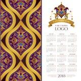 Calendario del vector para 2018 y decoración de oro Fotos de archivo libres de regalías