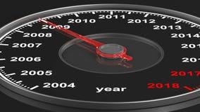 Calendario del velocímetro en fondo negro 3d rinden metrajes