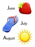 Calendario del verano - junio, julio, augusto Imagenes de archivo
