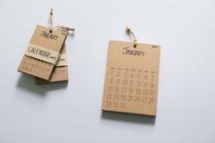 Calendario 2017 del vintage hecho a mano Imágenes de archivo libres de regalías