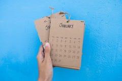 Calendario 2017 del vintage hecho a mano Fotografía de archivo