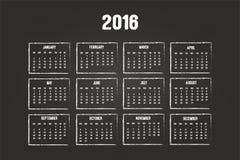 Calendario dell'anno 2016 Immagine Stock