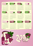 Calendario dell'anno prossimo con l'uva ed il vino Fotografia Stock Libera da Diritti
