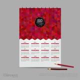 Calendario dell'illustrazione di vettore per 2015 Modello di stile della società di identità di marca Fotografia Stock